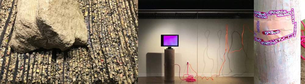 yolk  |  shell  |  source  |  system  in collaboration with Beki Basch (installation view). 2018. Rock, carpet padding, plastic, cardboard, bondo, extension cords, band aids, monitor, digital video (loop). Dimensions variable.