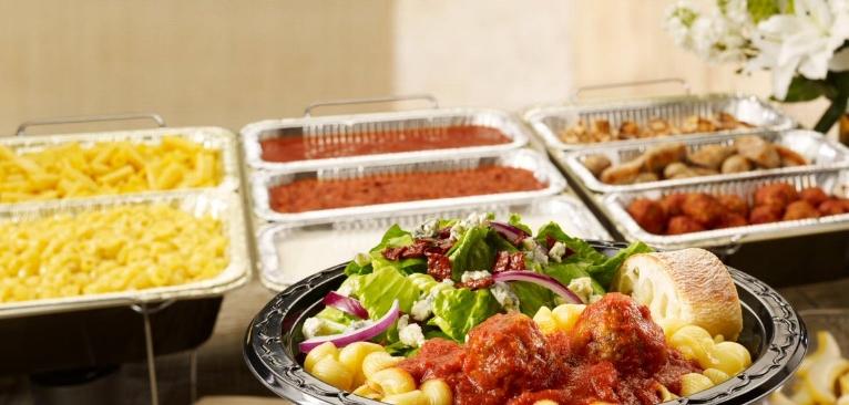 Pasta Bar with Salad, Pasta, Sauces, Meats, and Ciabatta!