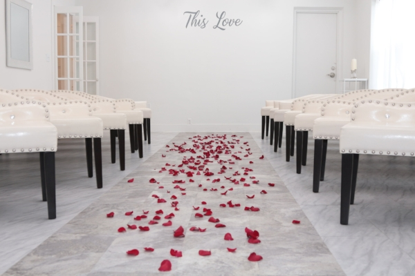 Rose Petals Scattered on Aisle