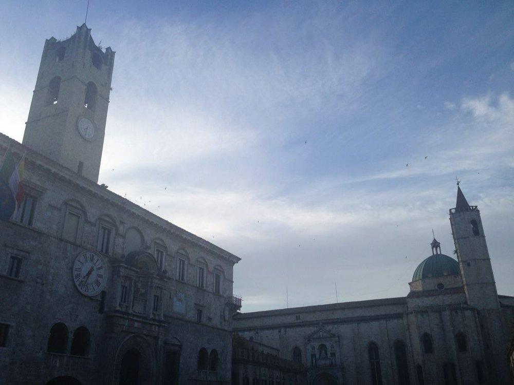 The Piazza del Popolo, outside my apartment in Ascoli Piceno.
