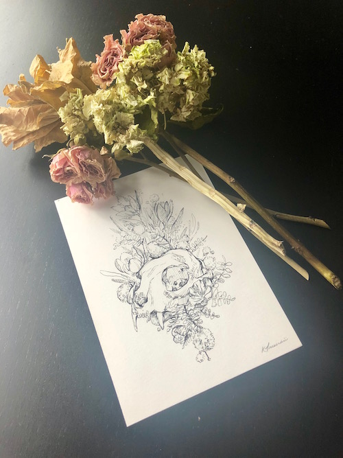 "Cat skull || Acacia (friendship) || Crocus (Youthful gladness) - 5""x7"""