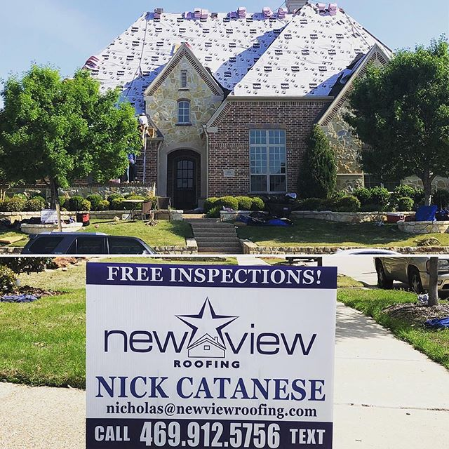 """Good thing the crew has recovered from Cinco De Mayo, because today they had to replace this 90sq  roof in Allen, TX. We might set a record with how quick this crew is moving. #newviewroofing #nicktheroofguy #romansdad #newroofnewview""  Photo credit @nick_cat00 Reposted with @plannthat"