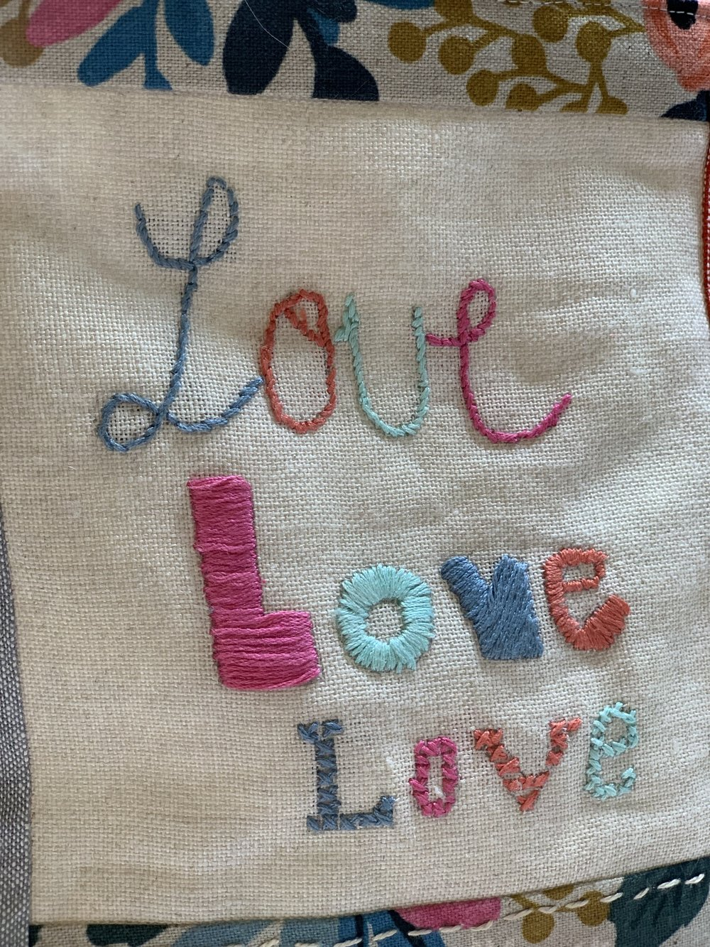 LOVE letters embroidered