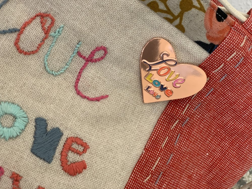 The LOVE letters embroidery was based on my  heart enamel pin  which I sent to my Valentine's!