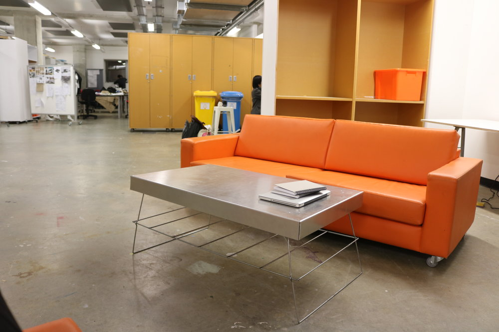 Cheeky sneak peek of the studio at AUT, featuring the famous orange sofas I nap on