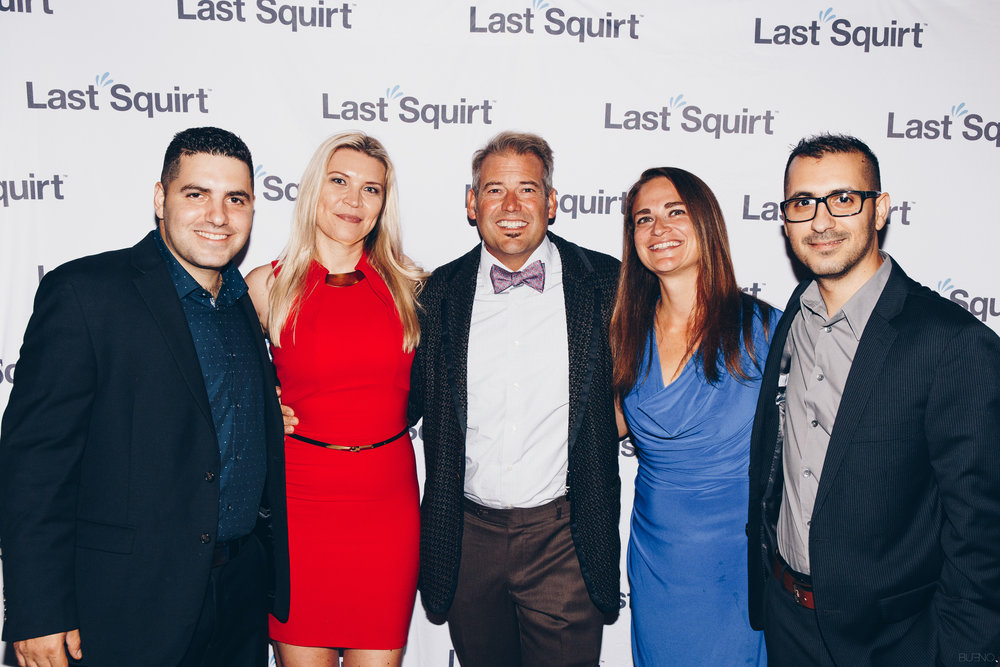 Team Last Squirt L to R: Ivan Benavides, Lucy Toth, Daniel Lakstins, Leah Lakstins, Ricardo Benavides walk the red carpet at the Last Squirt product launch celebration.