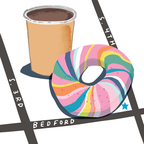 Lindsey Balbierz illustration map for YesWIlliamsburg - rainbow bagel