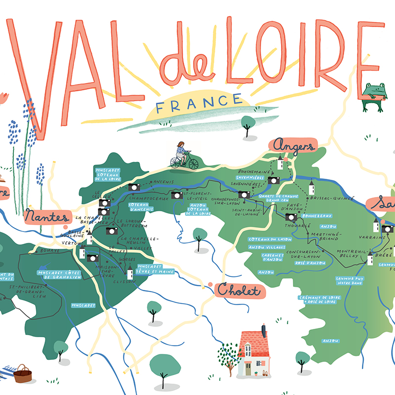 Val De Loire map   An illustrated map of the Loire Valley commissioned by a client who owns a chateau in the region and who is a major wine enthusiast.