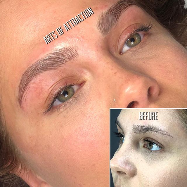 The goal here was the most natural #Microblading possible. No tweezing or removing any brow hair to shape and to just work with what she had. We did just that 😉 By: Natalie  Book Appointment Online- www.bookaoa.com ☎️ 727-580-3558 www.artsofattractionllc.com 💌 Info@artsofattractionllc.com