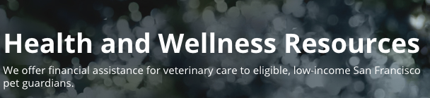 Health and Wellness Resources through the SF SPCA