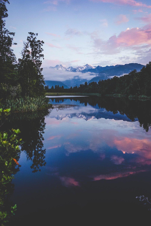 Sunset at Lake Matheson