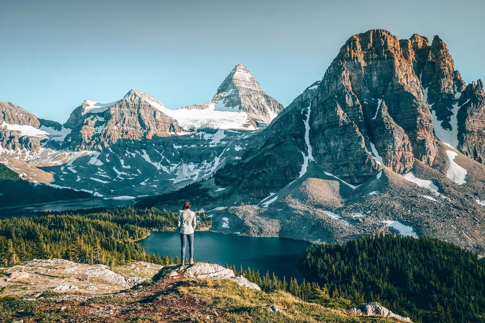Views of Mt Assiniboine, one of the most spectacular peaks in the Canadian Rockies and often called the 'Canadian Matterhorn'.