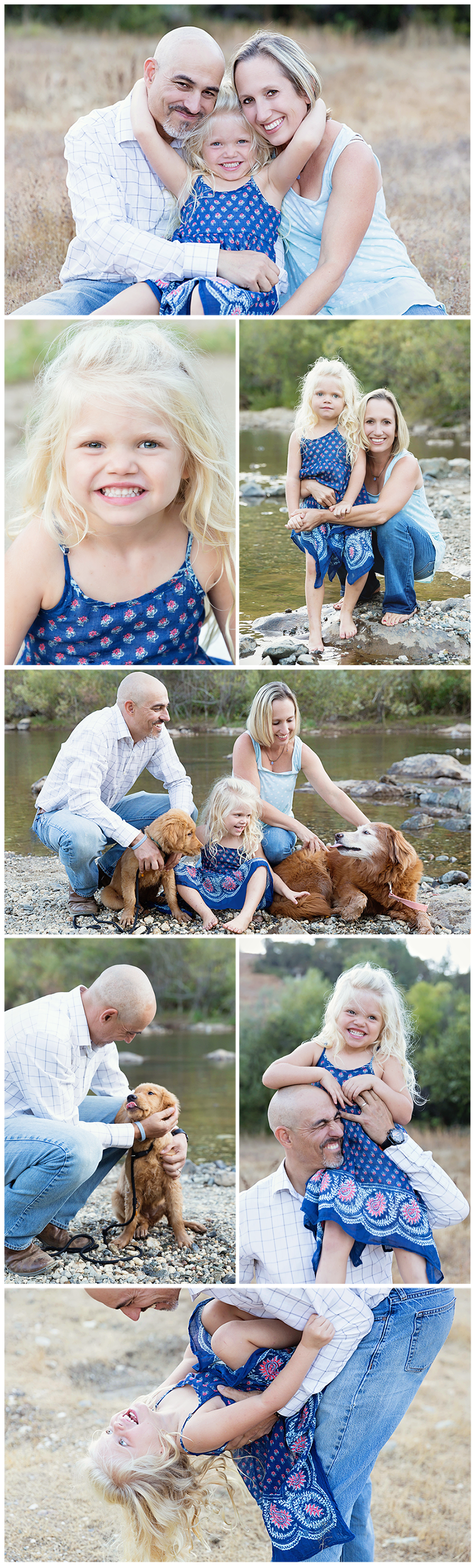 Outdoor family photography can be fun! Especially when a little girl, two dogs, and a river are involved.