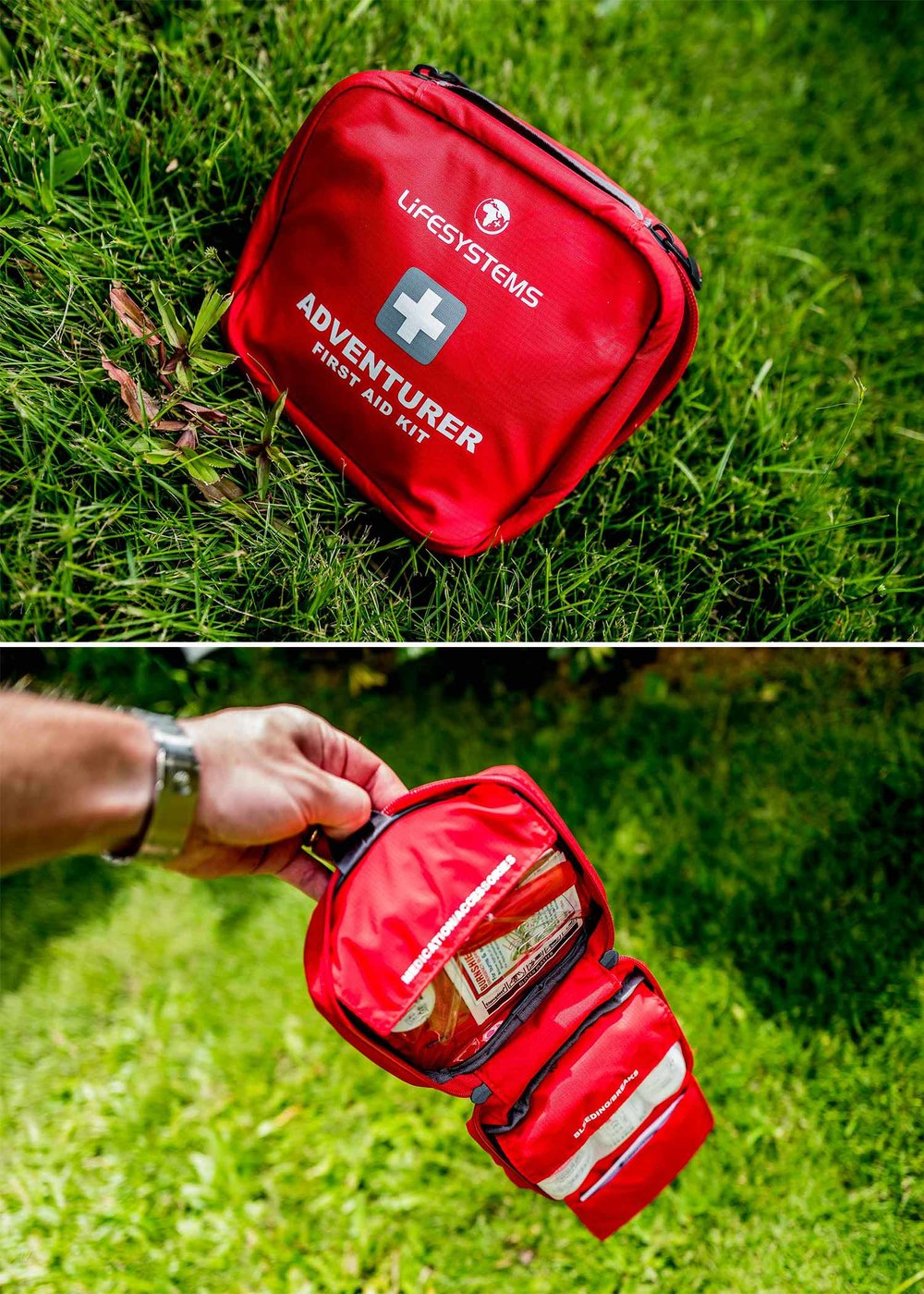 Lifesys. First Aid - Luckily I don't get a huge amount of use out of this pack item, but the Lifesystems Adventurer First Aid Kit is a useful addition on the off chance something serious happens.  Especially when camping with kids the included bandaids usually come in handy, and I have found myself using the scissors and tweezers on more than one occasion as well.  The other handy items that my get used include the alcohol swabs and medical tape for various makeshift camping needs.  Other items will hopefully never get any use as they would be needed only under very serious circumstances. That said its nice to know I'd have access to them in the worst case scenario and I highly recommend you to get this or an equivalent system for your pack. Buy Lifesystems First Aid