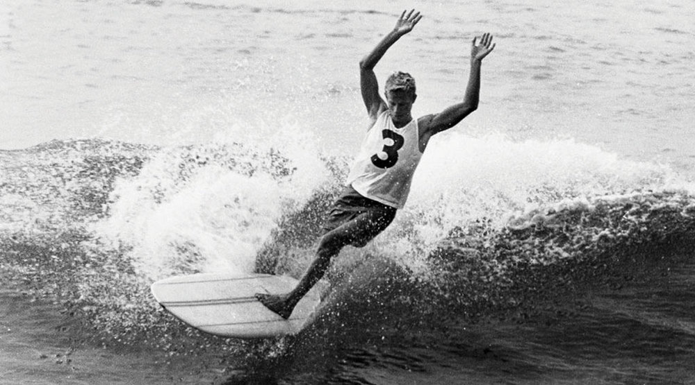 Midget Farrelly - First World Surfboard Riders Championships in Manly 1964