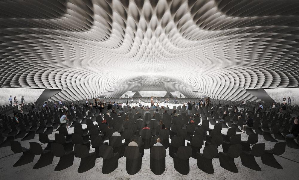 Rome Concrete Poetry Hall Interior