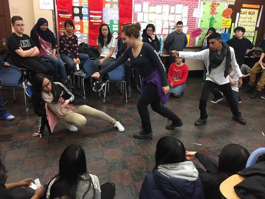 Shakespeare in Schools - With Redbull Theater Co & The Shakespeare Society. Co-designed & co- teaches a 10 class residency to draw 9th graders into the world of Romeo and Juliet through movement, speech, and performance (25 students/class)