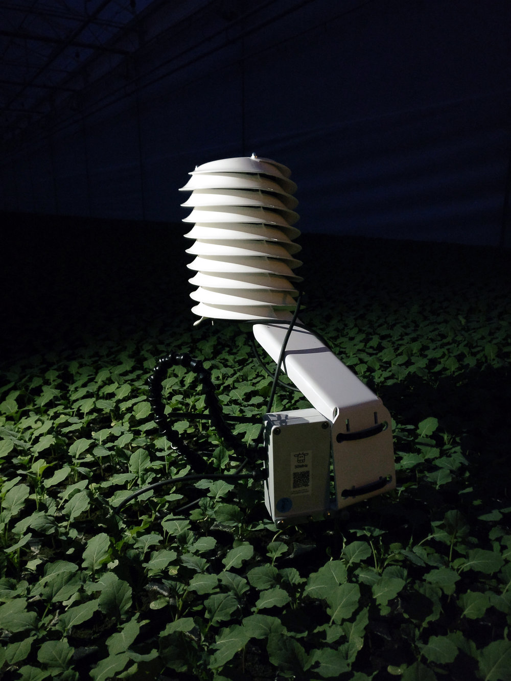 MeteoShield Professional solar radiation shield at night in agriculture