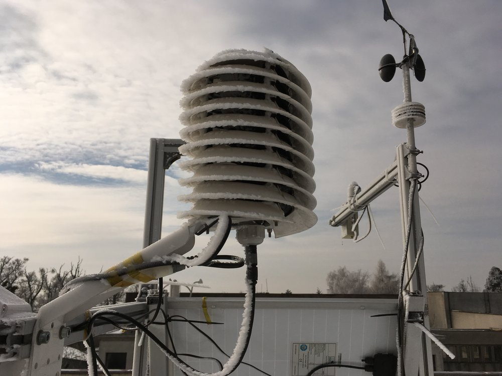 Testing weather station in winter with icing