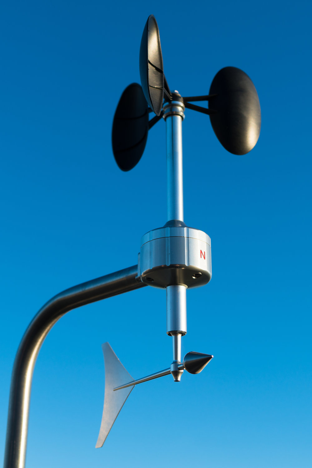 Anemometer detail in clear blue sky