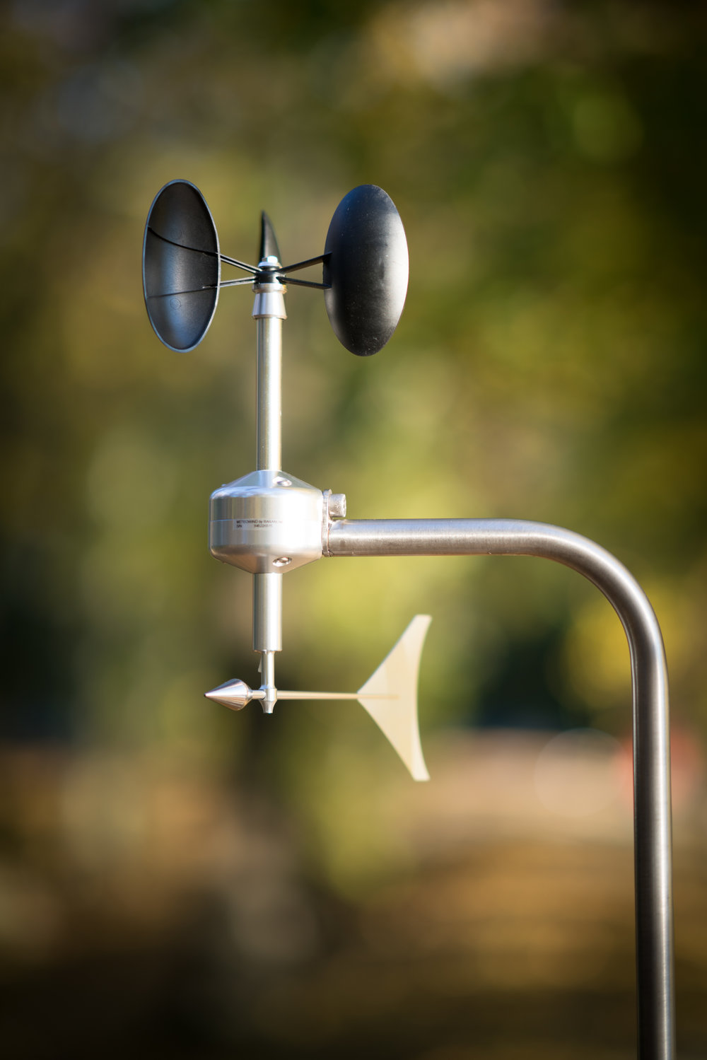 MeteoWind 1 anemometer with wind vane with tree & path background