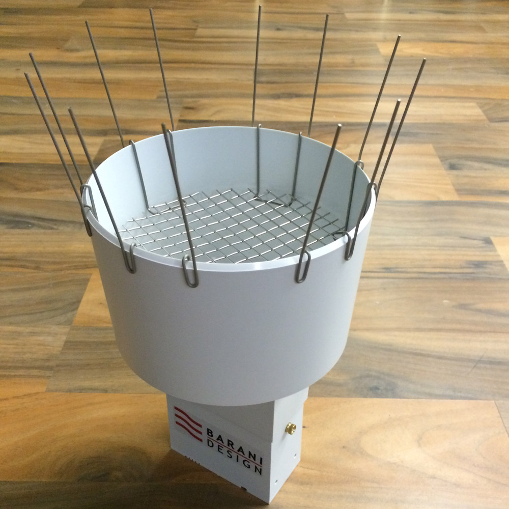 MeteoRain SEB200 rain gauge with debris fence and bird spikes
