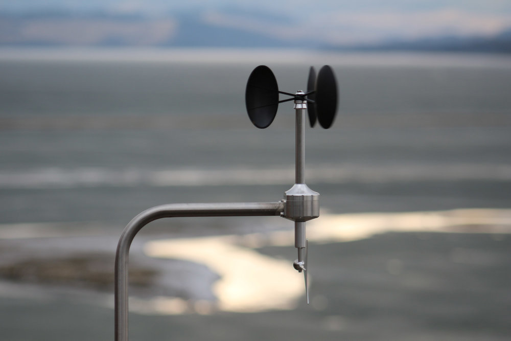 MeteoWind anemometer in a desert lake bed creek