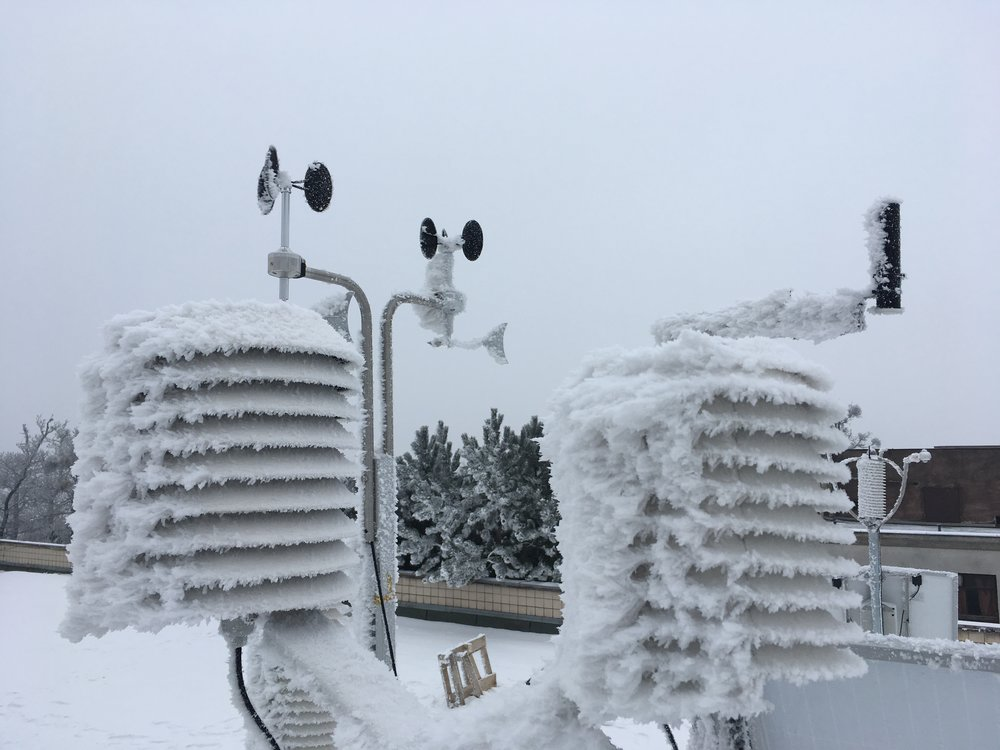 Anemometers & radiation shields in winter icing