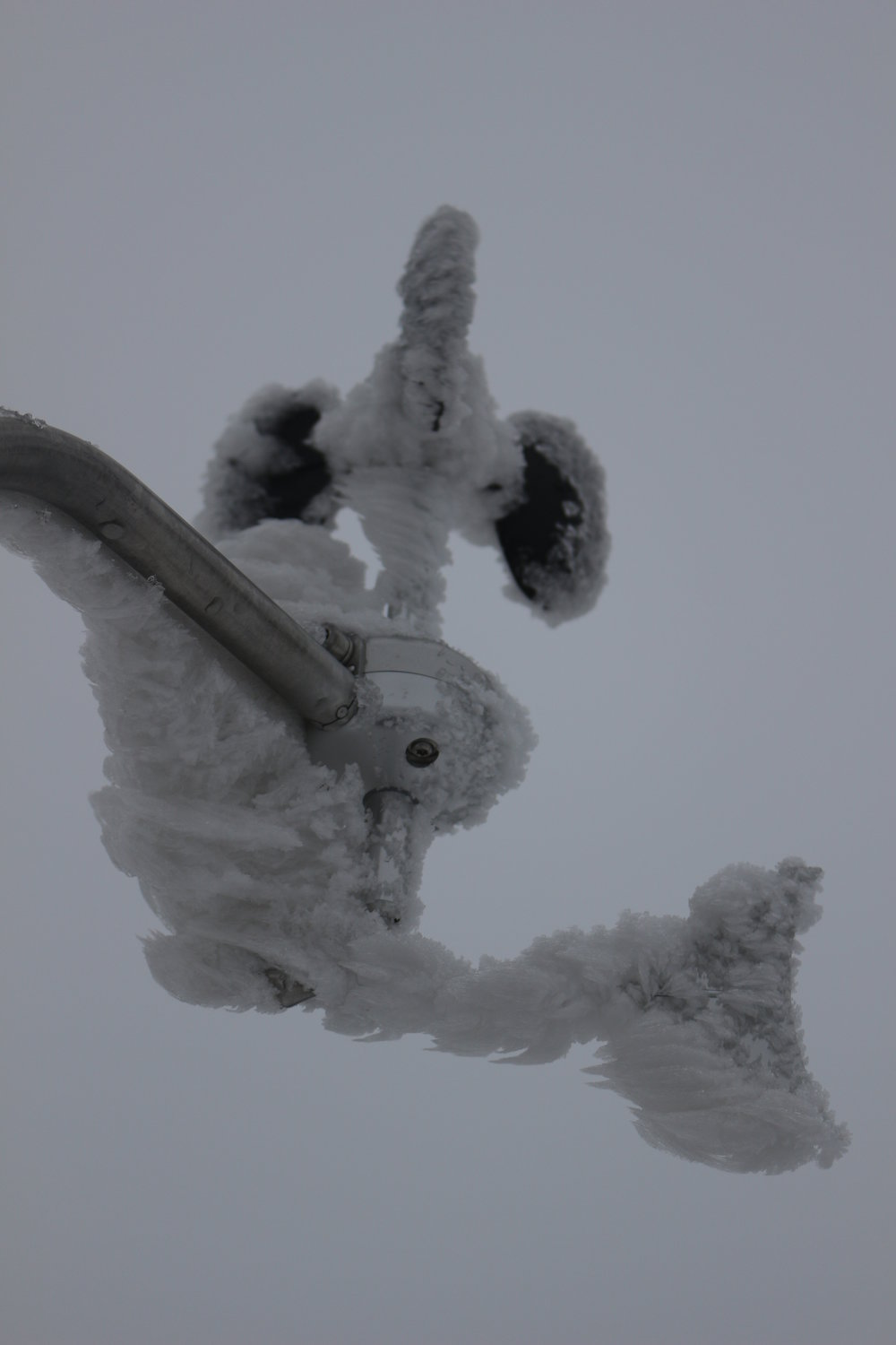 Showing severe icing on an anemometer and wind vane