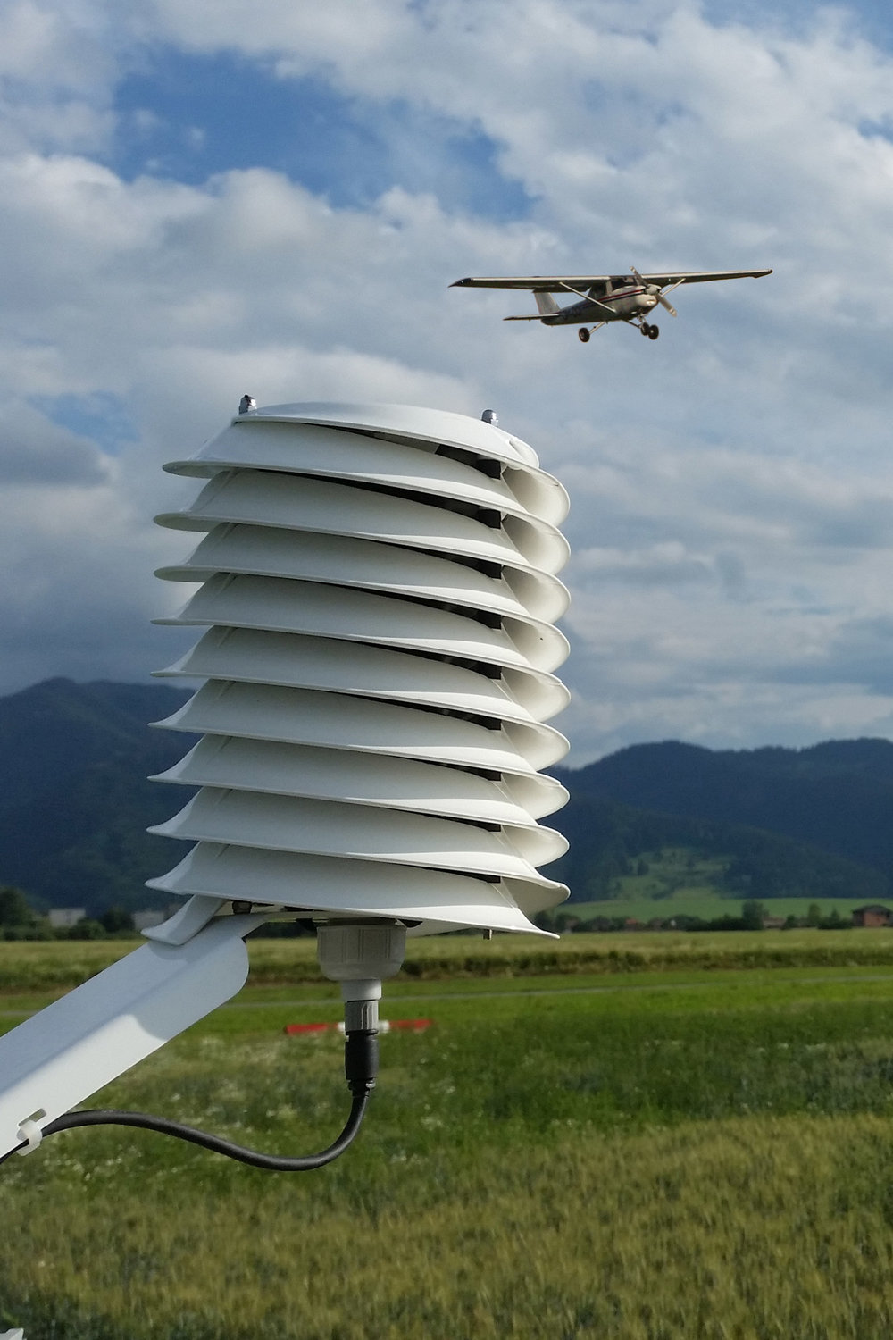 MeteoHelix IoT Pro weather station at an airstrip