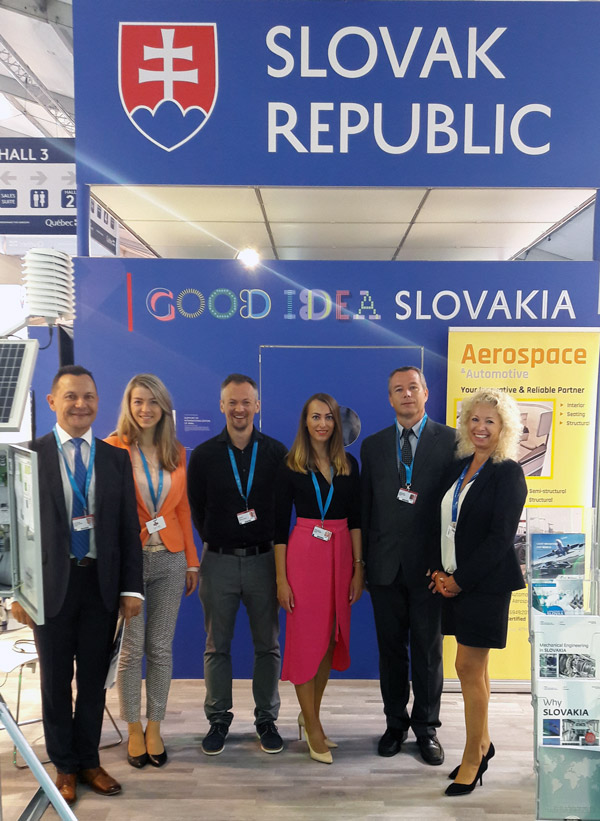 Slovakia stand at the 2018 Farnborough International Airshow Aerospace Exhibition