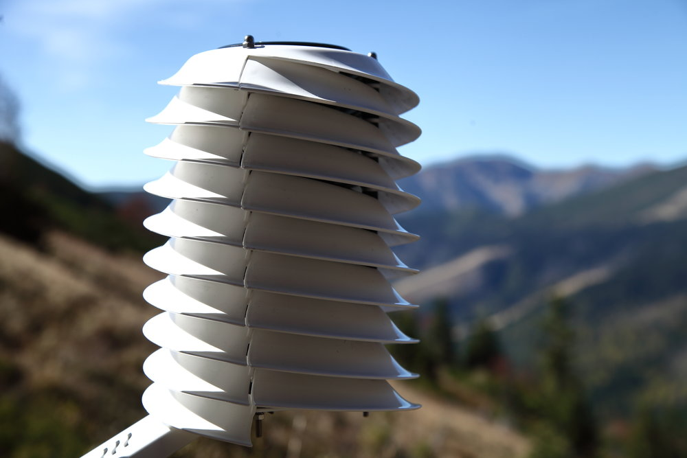 MeteoHelix weather station illuminated by mountain sun