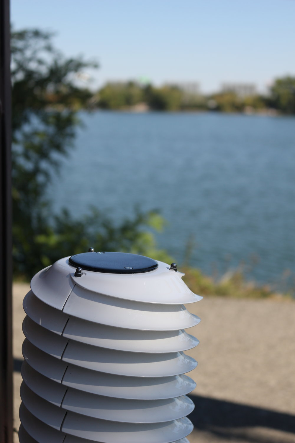 MeteoHelix IoT Pro Sigfox weather station on a lake