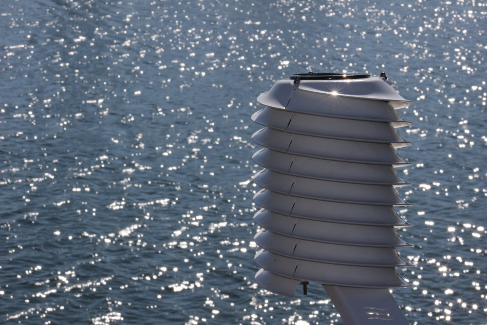 MeteoHelix weather station overlooking the sea