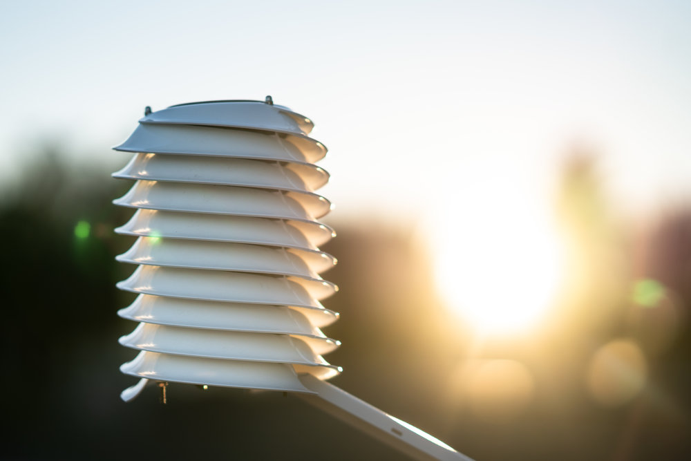 MeteoHelix IoT Pro Sigfox wireless weather station at sunset