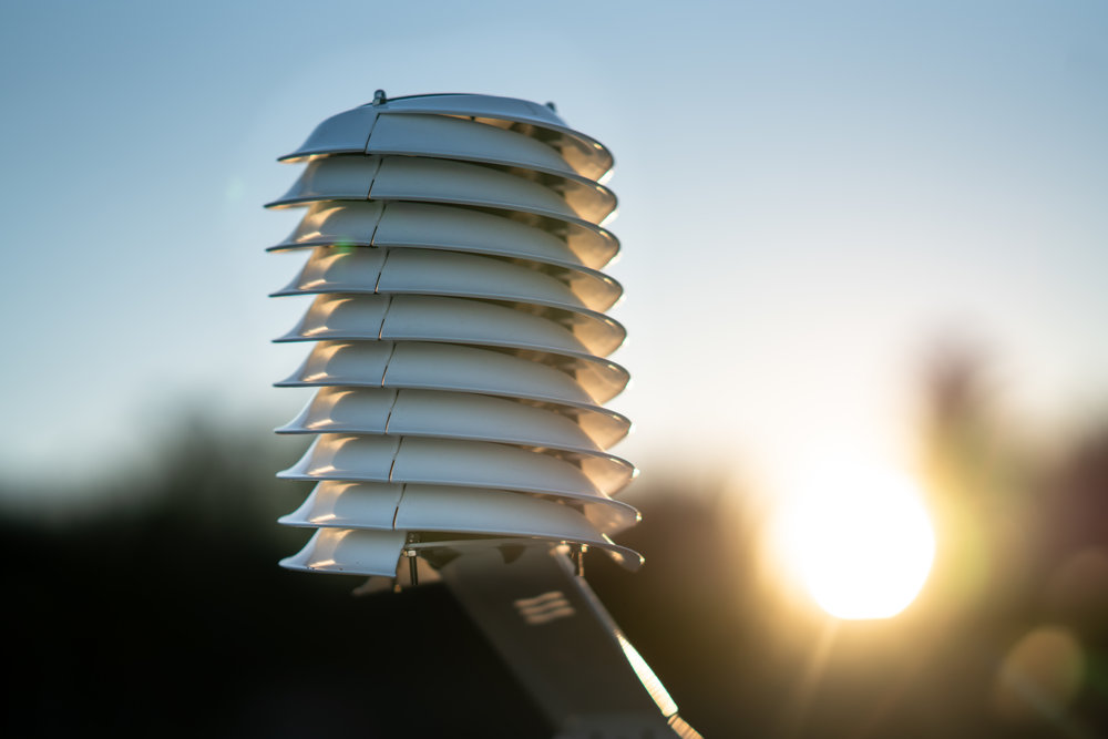 MeteoHelix IoT Pro LoRa wireless weather station at sunset