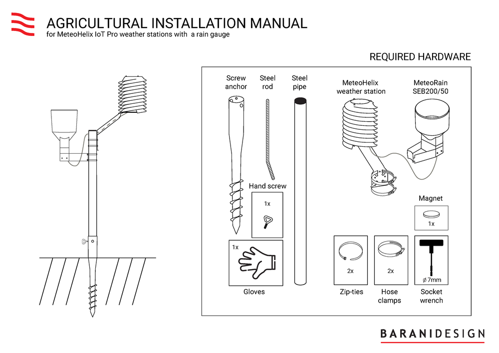 Required hardware to install the MeteoHelix in agriculture.