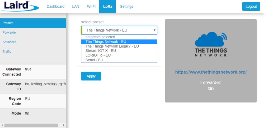FIGURE 3. laird sentrius gateway web interface presets.