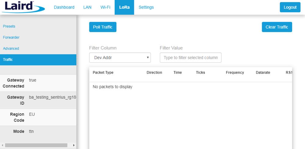 Figure 6. viewing LoRAWAN device traffic on your gateway