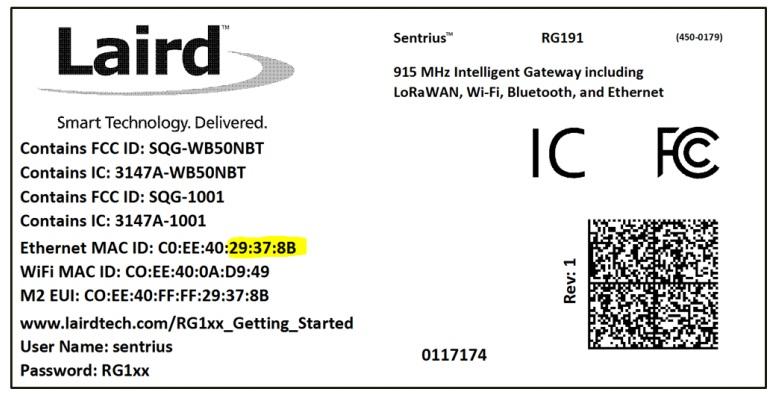FIGURE 2. bottom label of a laird sentrius gateway.