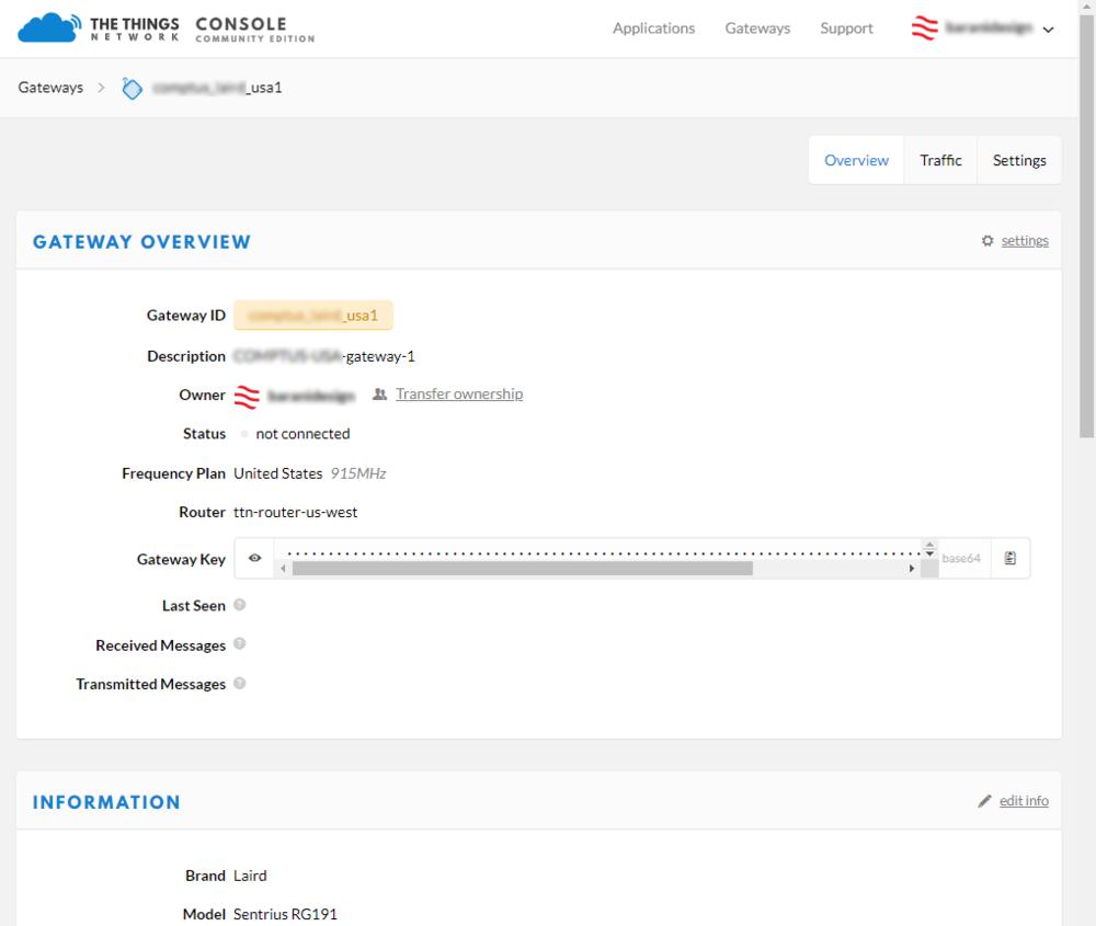 FIGURE 1. registering a Lora gateway on the things Network (TTN)