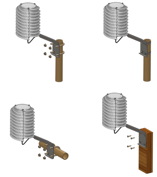 Mounting options of Meteohelix weather stations