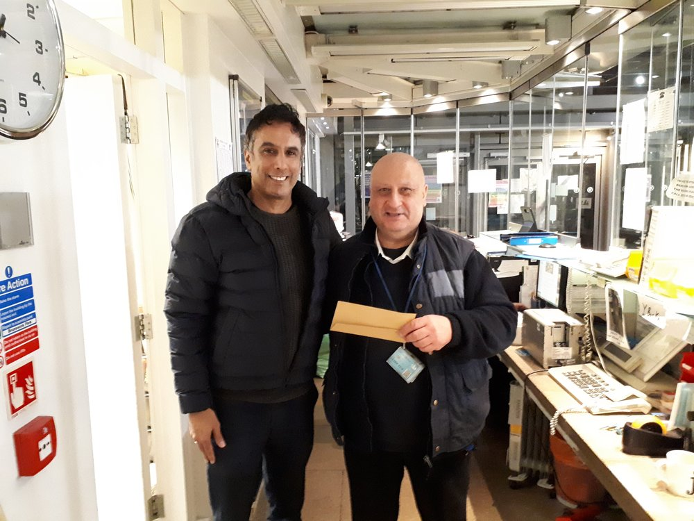 Eddie Receiving the IH Community Award for March from IH Warden, Saeed Zeydabadi- Nejad.