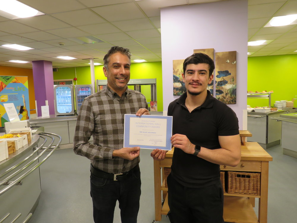Our Warden, Saeed, with the January winner of the Community Award, Ulu.