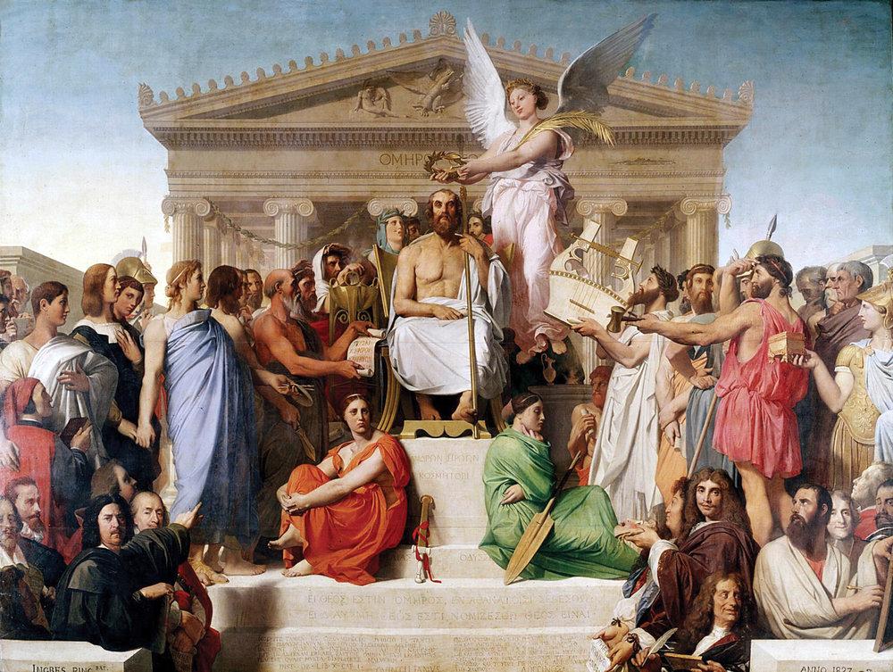 Жан-Огюст-Домінік Енгр, Апофеоз Гомера, 1827, олія, полотно, 386 x 515 см. Лувр
