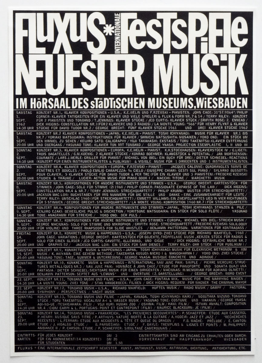 Wiesbaden Festival of New Music, афіша, 1962