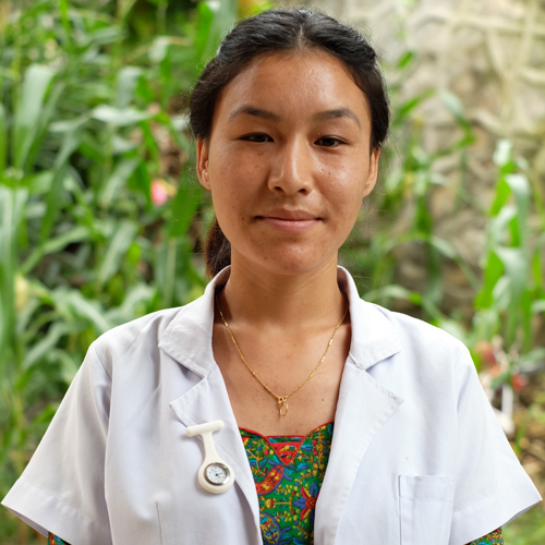 Kunga Gurung Nurse   Kunga was born in the Mustang district of Nepal, one of the country's most remote areas. She first came to city to pursue higher education. After her PCL nursing course she joined NHEDF as a paid volunteer for six months and now she is working as a staff nurse.