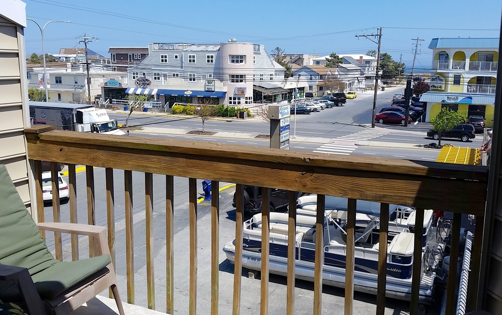 You can see the ocean from one of our three balconies -- it's just a block away.
