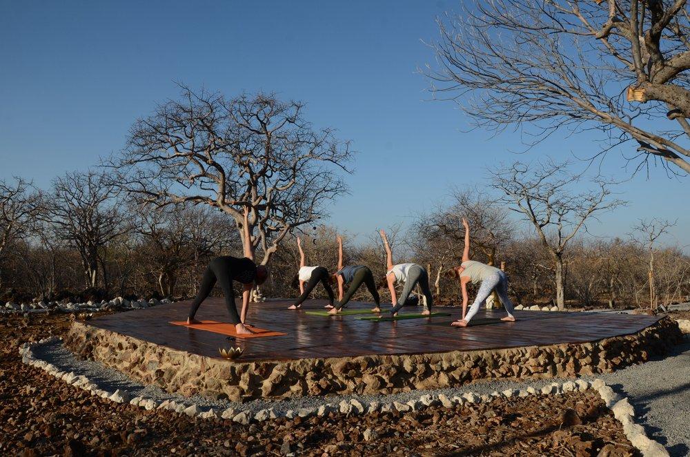 Outdoor yoga deck at Etosha Village