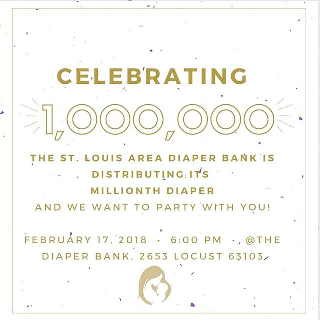 The #stldiaperbank is going to distribute our millionth diaper this month and we want to celebrate! Come join us this Saturday night at the Diaper Bank for some good food, conversation and fun! Our Distribution Partners will be there to discuss how your donations/diapers make a difference in our community. Tickets are $25 in advance, $30 at the door. Delicious appetizers and beer/wine will be provided.  Link in bio.  #diaperon #changingdiapers #changinglives #stlregion #celebrategoodtimes #1milliondiapers